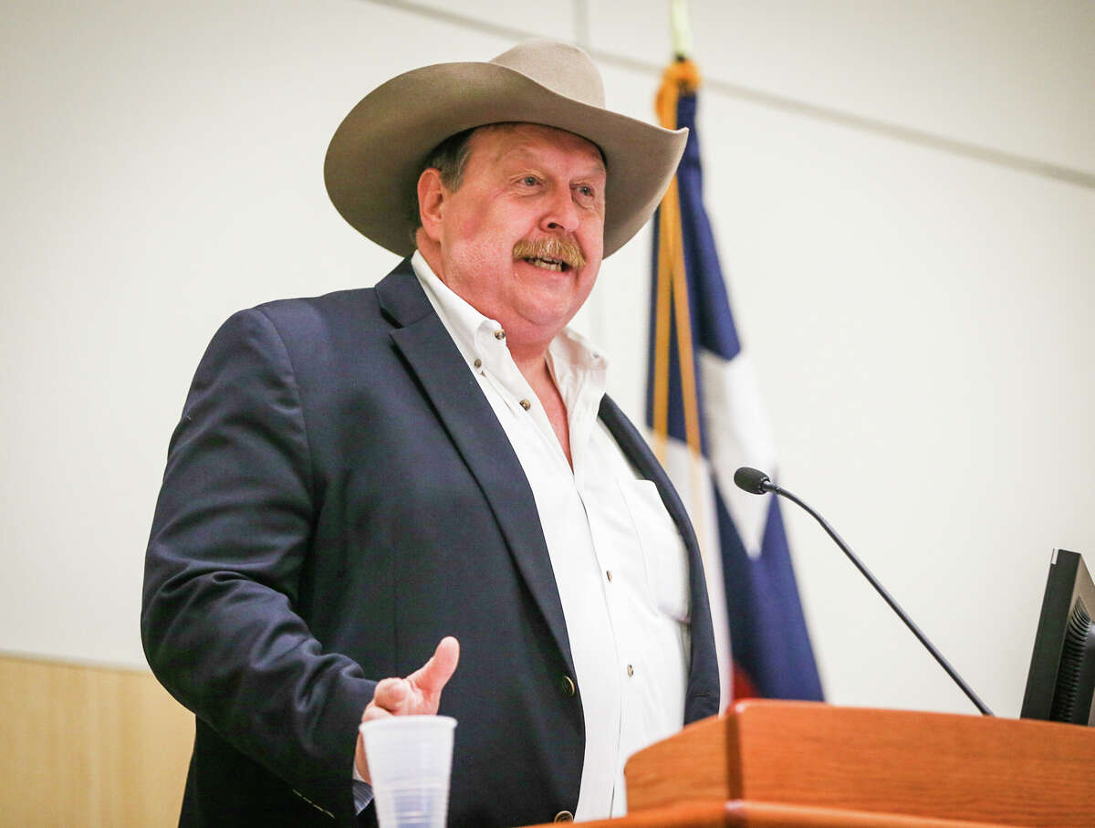 Cecil Bell, candidate for State Representative District 3, speaks during The Woodlands Area Chamber of Commerce's Whistle Stop Tour on Monday, Feb. 8, 2016, at Lone Star Community Building.