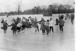 In the winter, the Central Park rink becomes a popular sports area. Classes in skating, dancing and the sports of speed skating and hockey have wide interest. 1957