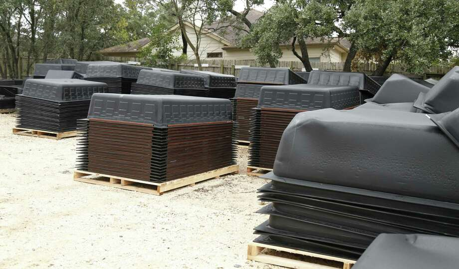 Secondary containment tanks for the oilfield like these are manufactured and sold by Franks Manufacturing, a San Antonio-based plastic forming company. The company's business remained steady through the oil downturn, which hit the industry during 2015 and 2016. Photo: Ron Cortes /Ronald Cortes / Freelance