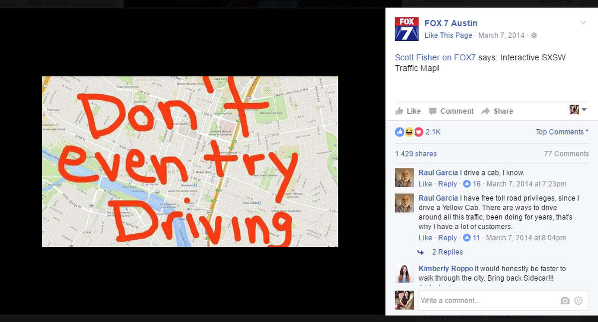 Frustrated drivers take to social media to vent about Austin traffic during SXSW.