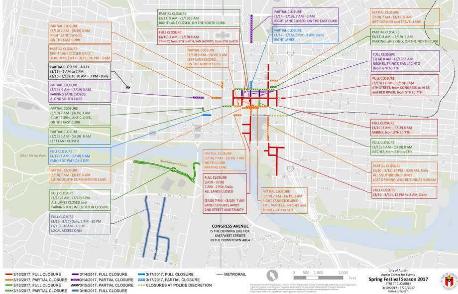 The city of Austin released a map of scheduled street closures during SXSW 2017, but locals see the impending gridlock more like the next photo. Photo: City Of Austin