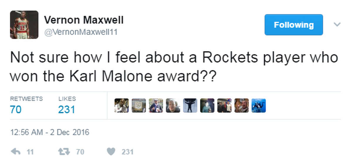 VERNON MAXWELL'S BEST TWEETS The Karl Malone Award is given each year to the best power forward in college basketball. Maxwell wasn't thrilled to learn the Rockets' Montrezl Harrell won the award when he was at Louisville.