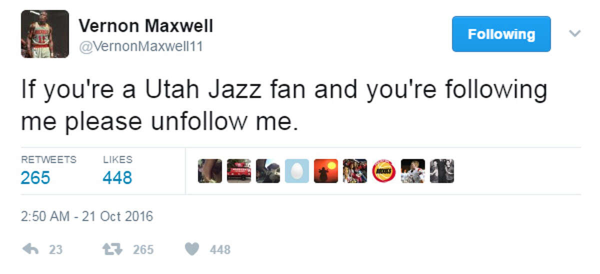 VERNON MAXWELL'S BEST TWEETS Those Rockets-Jazz slugfests in the 1990s still give Maxwell a distaste for Utah.
