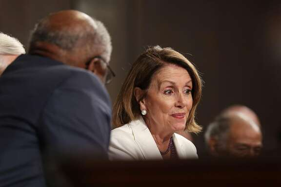 House minority Leader Nancy Pelosi reacts as US President Donald J. Trump delivers his first address to a joint session of Congress from the floor of the House of Representatives on February 28th 2017 in Washington, DC.  Traditionally the first address to a joint session of Congress by a newly-elected president is not referred to as a State of the Union. (Sipa USA/TNS)