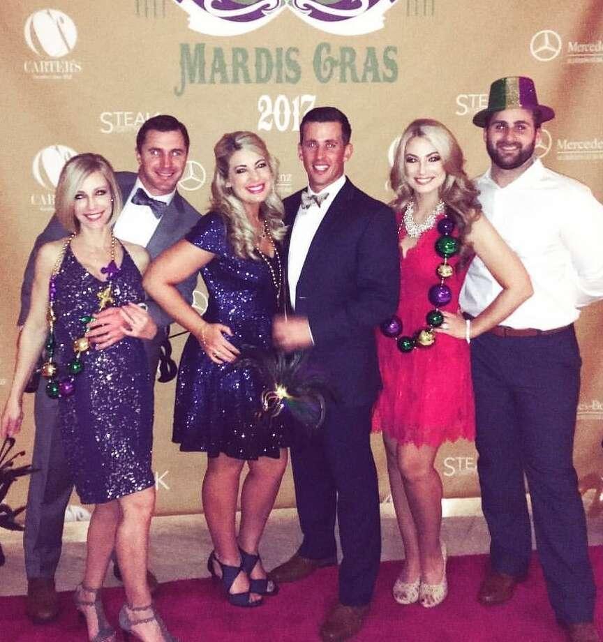 Mardis Gras: Kari Rylander, from left, Cory Rylander, Kayla Burnett, Briley Leggett, Kelsi Miller and Blake Miller Photo:  Courtesy Photo
