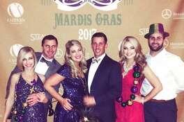 Mardis Gras: Kari Rylander, from left, Cory Rylander, Kayla Burnett, Briley Leggett, Kelsi Miller and Blake Miller