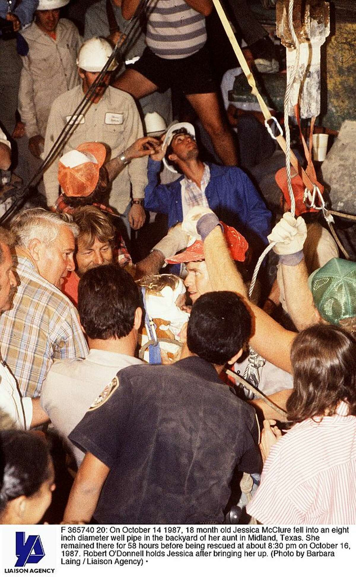 At 18-months-old, she fell into an eight-inch diameter well pipe in the backyard of her aunt's house in Midland, Texas. She remained there for 58 hours before being rescued at about 8:30 pm on October 16, 1987.