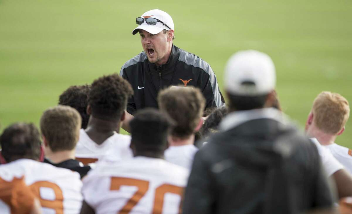 Longhorns coach Tom Herman gets vocal with his team during spring practice on March 7, 2017.
