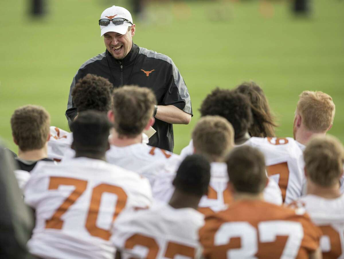 Texas Longhorns coach Tom Herman talks with the team during spring practice on March 7, 2017, in Ausatin