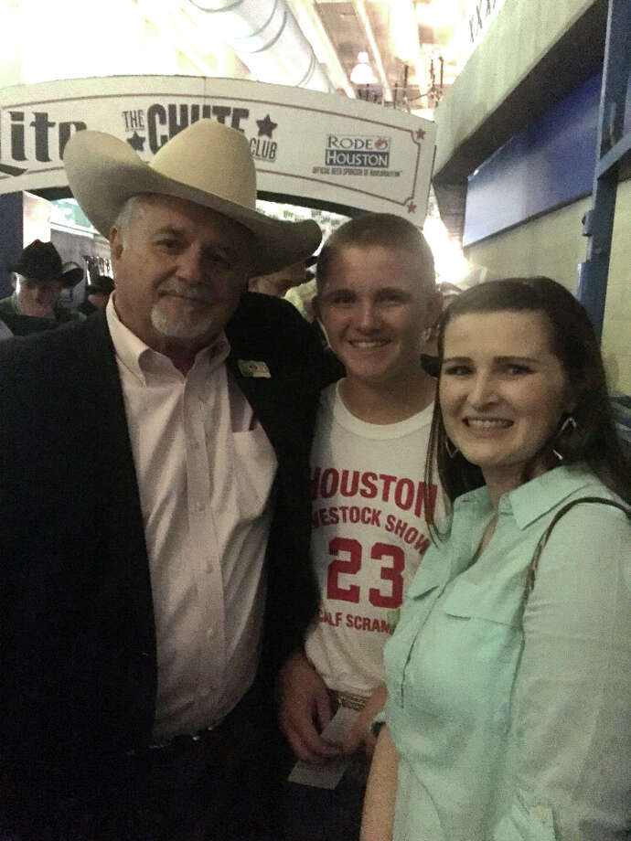 Coldspring FFA student Bret Carter was one of the contenders who caught a calf at the Houston Livestock Show & Rodeo Calf Scramble on Thursday, March 9. Pictured from left to right are COCISD Superintendent Dr. Leland Moore, Bret Carter and Ag Science teacher Ashlie Taylor. Photo: Submitted