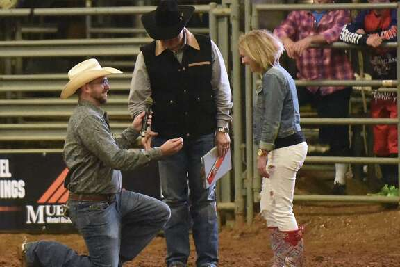 Clayton Peterson proposes to Molly Mae Cates at Tejas Rodeo in Bulverde. The venue offers dining, a rodeo per- formance and other events.