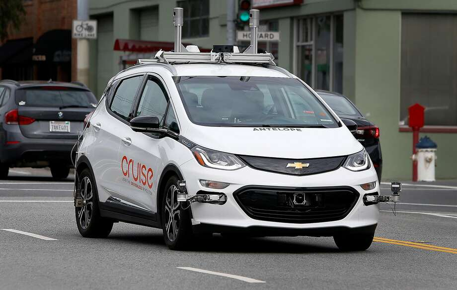 A self-driving car operated by Cruise rides on 11th Street in San Francisco. Cruise, which is owned by General Motors, has been working with the seven-person team of Zippy.ai since February. Photo: Paul Chinn / The Chronicle 2017