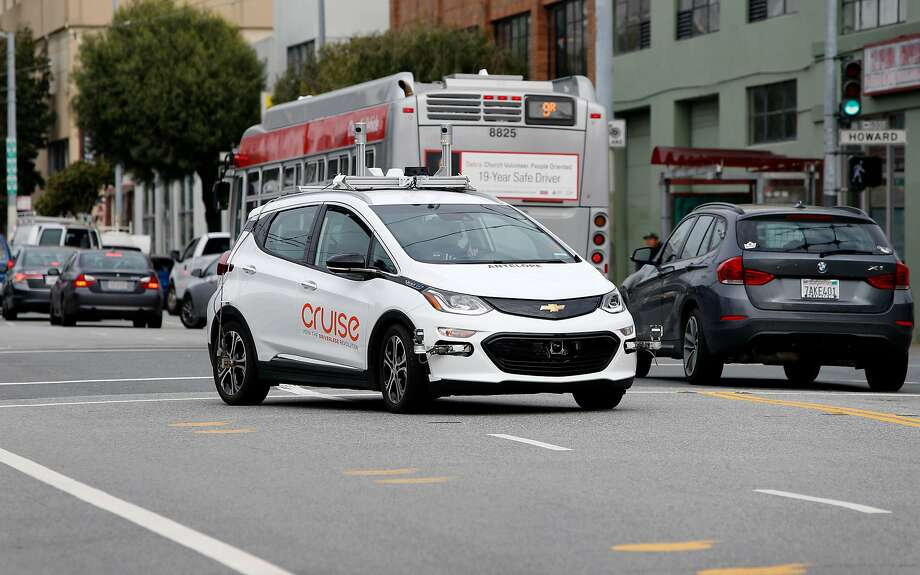 A Cruise self-driving car rides on 11th Street in San Francisco in 2017. The General Motors subsidiary logged many more autonomous miles last year. Photo: Paul Chinn, The Chronicle