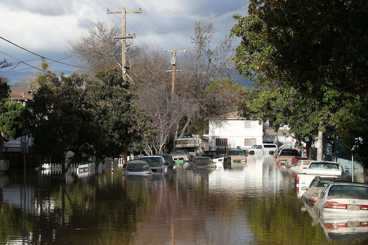 SAN JOSE, CA - FEBRUARY 22: Cars are seen in floodwaters on February 22, 2017 in San Jose, California. Flooding on Tuesday prompted the evacuation of over 10,000 people in the area. (Photo by Elijah Nouvelage/Getty Images)