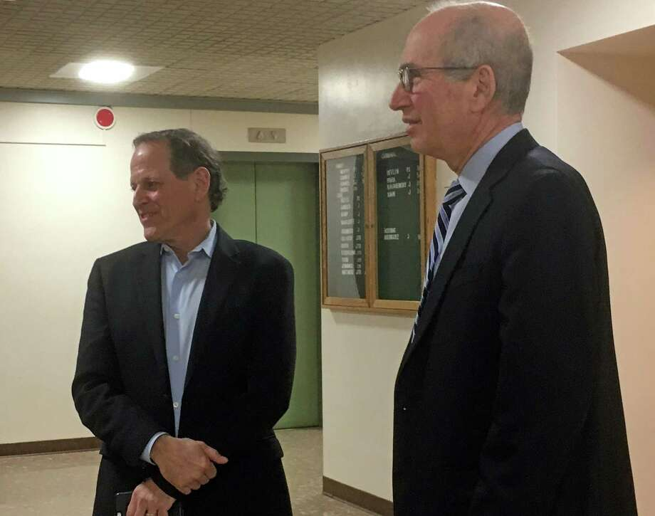 Democratic Town Committee Chairman Steve Sheinberg, left, and attorney Joel Green, outside the courtroom during a break in action Friday. Bridgeport Superior Court Judge Barbara Bellis ruled that the town must schedule a special election for a seat on the Board of Selectmen. Fairfield,CT. 3/10/17 Photo: Genevieve Reilly / Hearst Connecticut Media / Fairfield Citizen