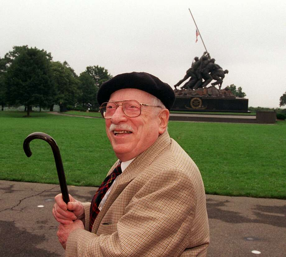 In 1995. Rosenthal visits the Iwo Jima Memorial in Arlington, Va., which was modeled after his Pulitzer-winning photo. Photo: DOUG MILLS, AP