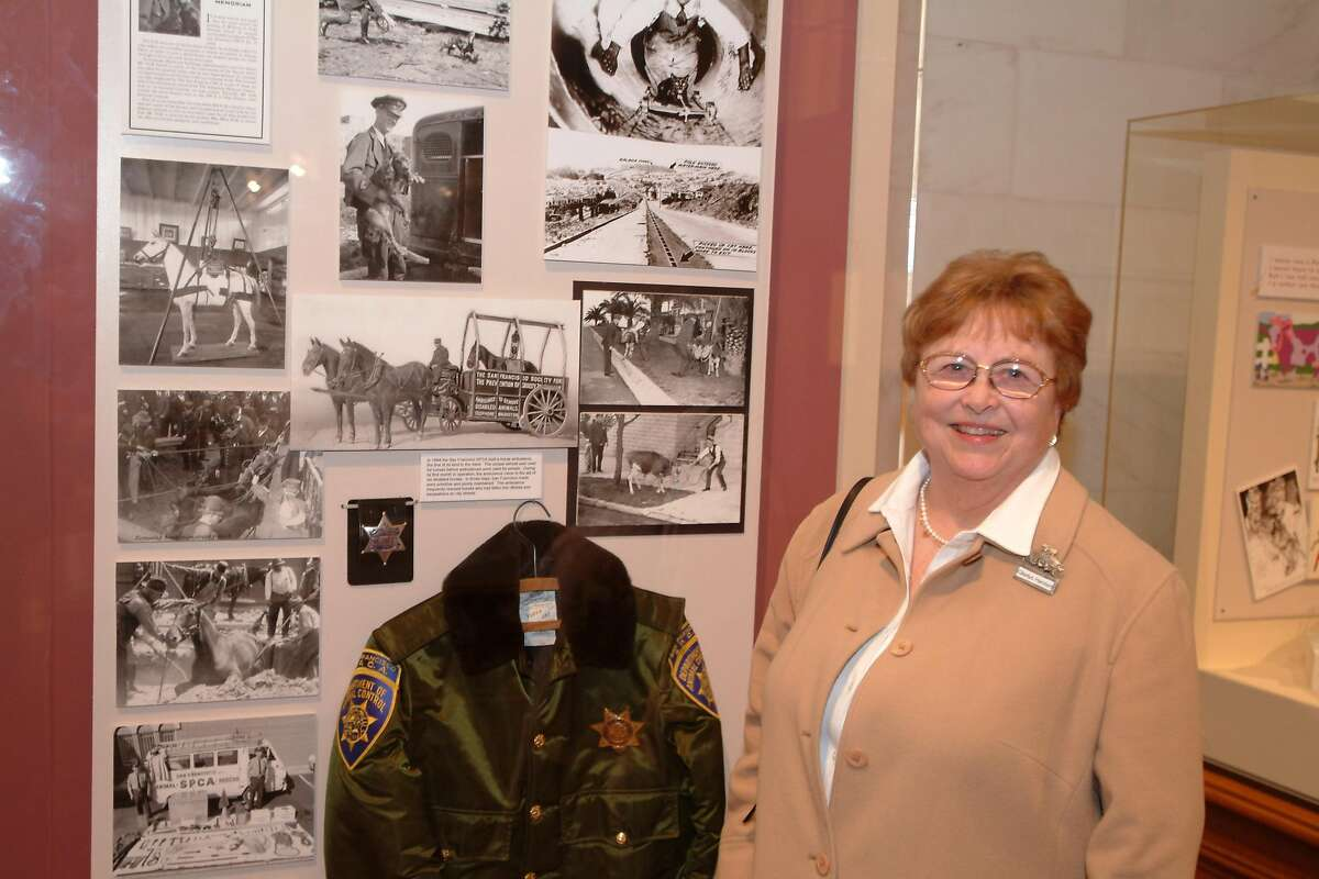 FILE-- Gladys Hansen, the Museum of the City of San Francisco Curator, curated The SF/SPCA's 135th Anniversary exhibit at City Hall. Hansen died last Sunday of the infirmities of old age. She was 91.