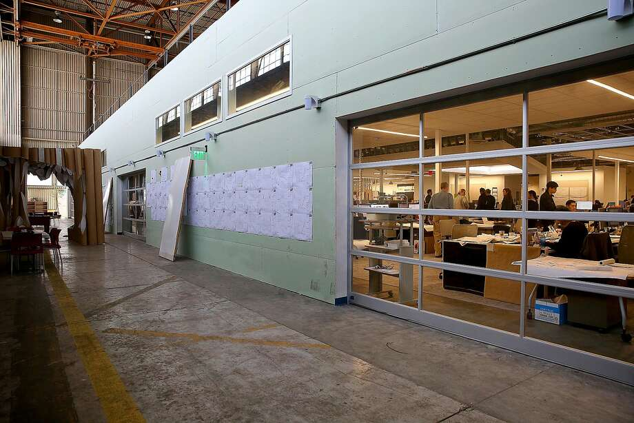 Overview of the outside of The Big Room where architects and designers work on the remake of  Terminal 1 at SFO at this nearby hangar on Thursday, March 9, 2017, in San Francisco, Calif. Photo: Liz Hafalia, The Chronicle