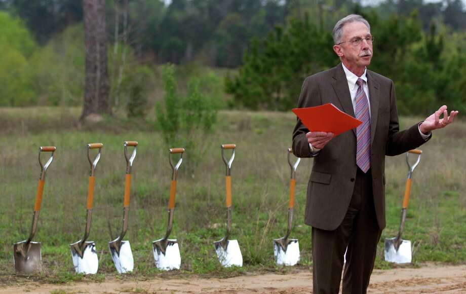 Tim Welbes, president of The Woodlands Development Company, speaks during a ground breaking for a trailhead for new 11-mile hiking path at the George Mitchell Nature Preserve in the Village of Creekside Park near Creekside Forest Drive and Dr. Ann Synder Way. The trail, which begins in Harris County and moves through Montgomery County, is scheduled to open by June 2018. Photo: Jason Fochtman, Staff Photographer / © 2017 Houston Chronicle