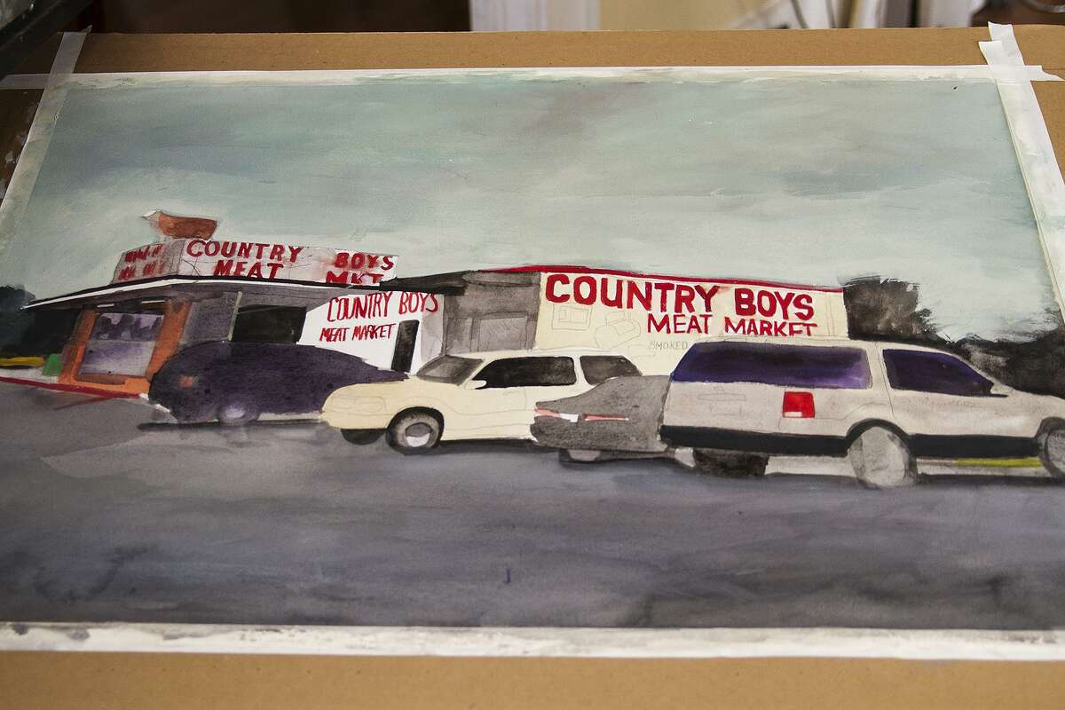 Fernandez's painting of Country Boys meat market is a work in progress.