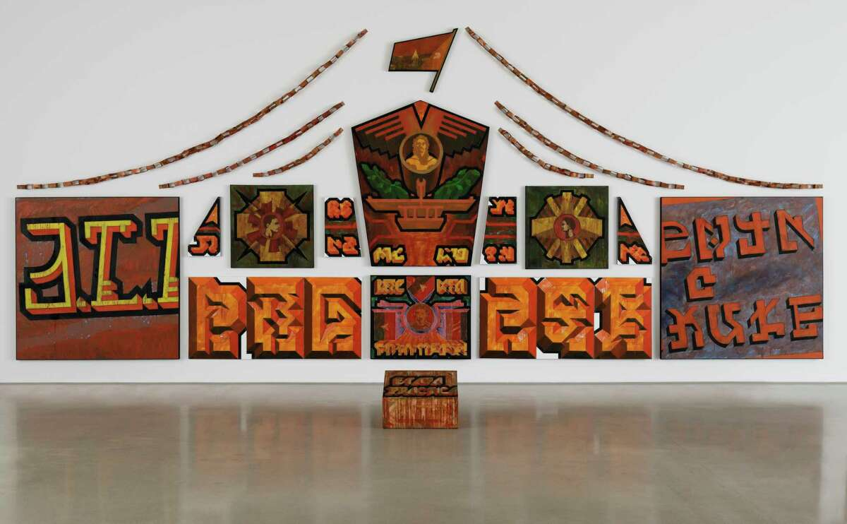 Glexis Novoa's untitled installation at the Museum of Fine Arts, Houston is funnier than it looks: Its message is meaningless.