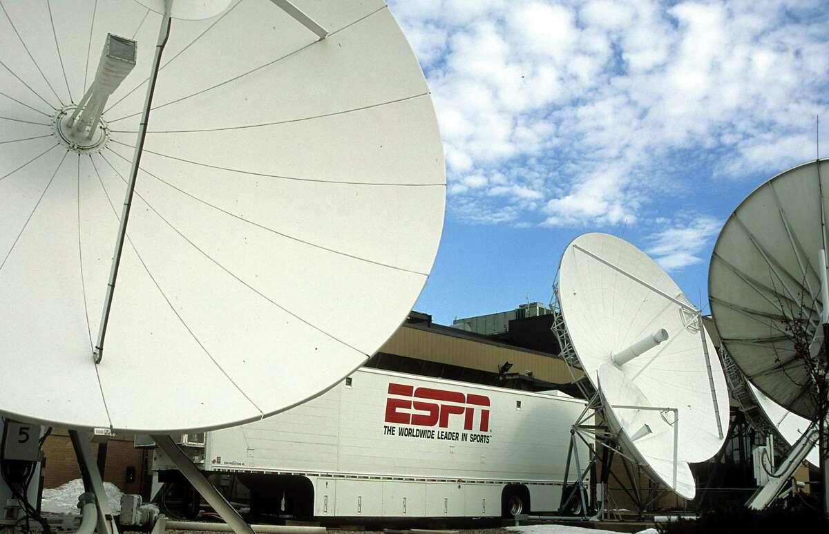 The the ESPN TV satellite dishes in Bristol.