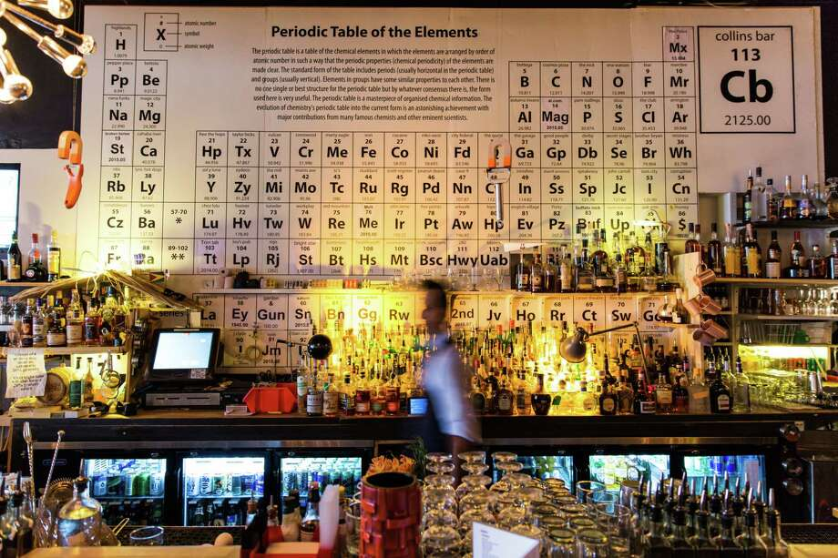 Collins Bar features a Periodic Table of Elements highlighting Birmingham people, places and historic moments. Photo: Caleb Chancey / The Washington Post