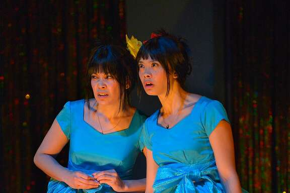 """From left: L (Rinabeth Apostol) and sister�M (Tiffany Villarin) at the Hoopcoming dance in Marin Theatre Company's """"peerless."""""""