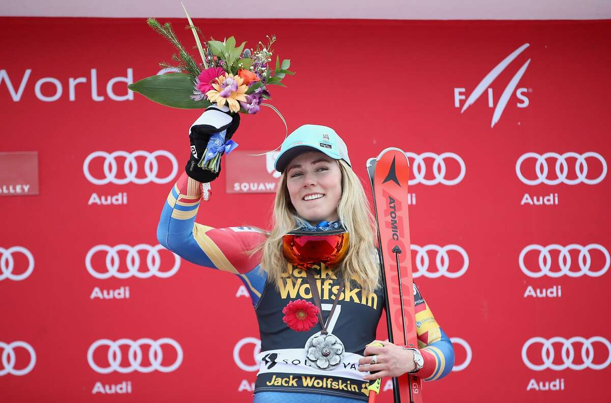 SQUAW VALLEY, CA - MARCH 10: Mikaela Shiffrin of the United States celebrates on the podium after winning the Audi FIS World Cup Ladies' Giant Slalom on March 10, 2017 in Squaw Valley, California. (Photo by Ezra Shaw/Getty Images)