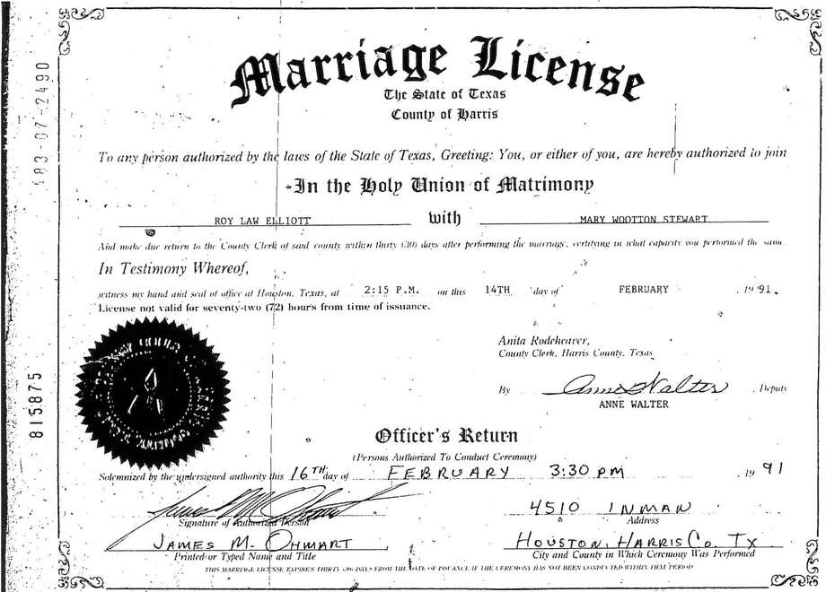 A marriage license documents the union of Roy Elliott and Mary Stewart on February 14, 1991. Photo: Harris County Clerk File