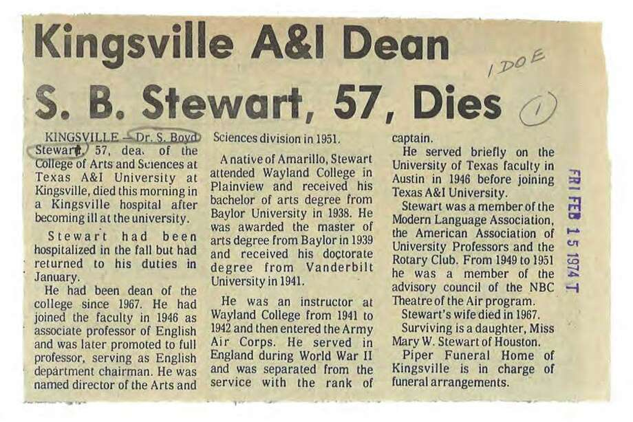 A clip in the Corpus Christi Caller-Times from Feb. 15, 1974 describes the death of Mary Cerruti's father, Dr. S. Boyd Stewart. Photo: Courtesy Of Corpus Christi Caller-Times