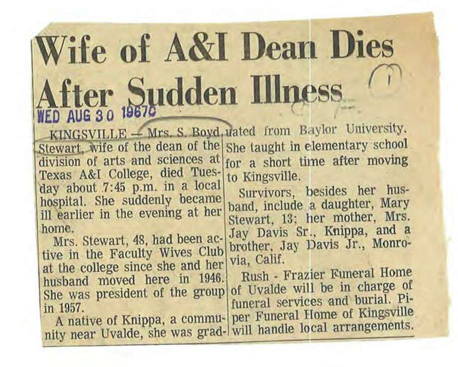 A newspaper clip from the Corpus Christi Caller-Times on Aug. 30, 1967, describes the death of Mary Cerruti's mother, Mrs. S. Boyd Stewart. Photo: Courtesy Of Corpus Christi Caller-Times