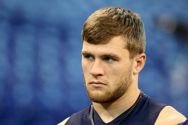 Wisconsin linebacker T.J. Watt is seen before a drill at the 2017 NFL football scouting combine Sunday, March 5, 2017, in Indianapolis. (AP Photo/Gregory Payan)
