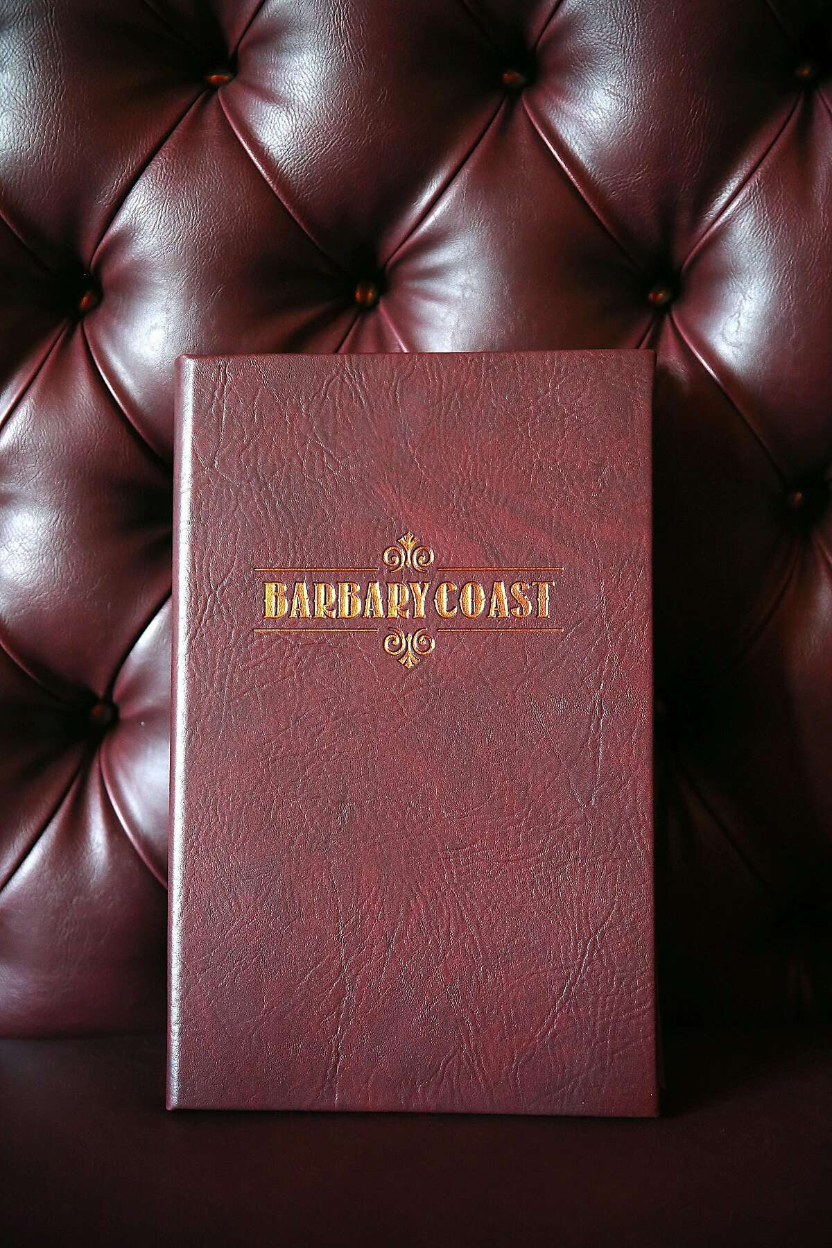 Menu cover displayed at the new Barbary Coast SF cannabis lounge on Friday, March 10, 2017, in San Francisco, Calif.