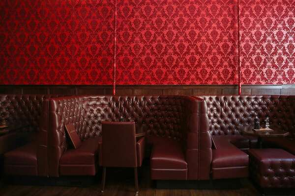 Detail of booths and wallpaper at the new Barbary Coast SF cannabis lounge on Friday, March 10, 2017, in San Francisco, Calif.
