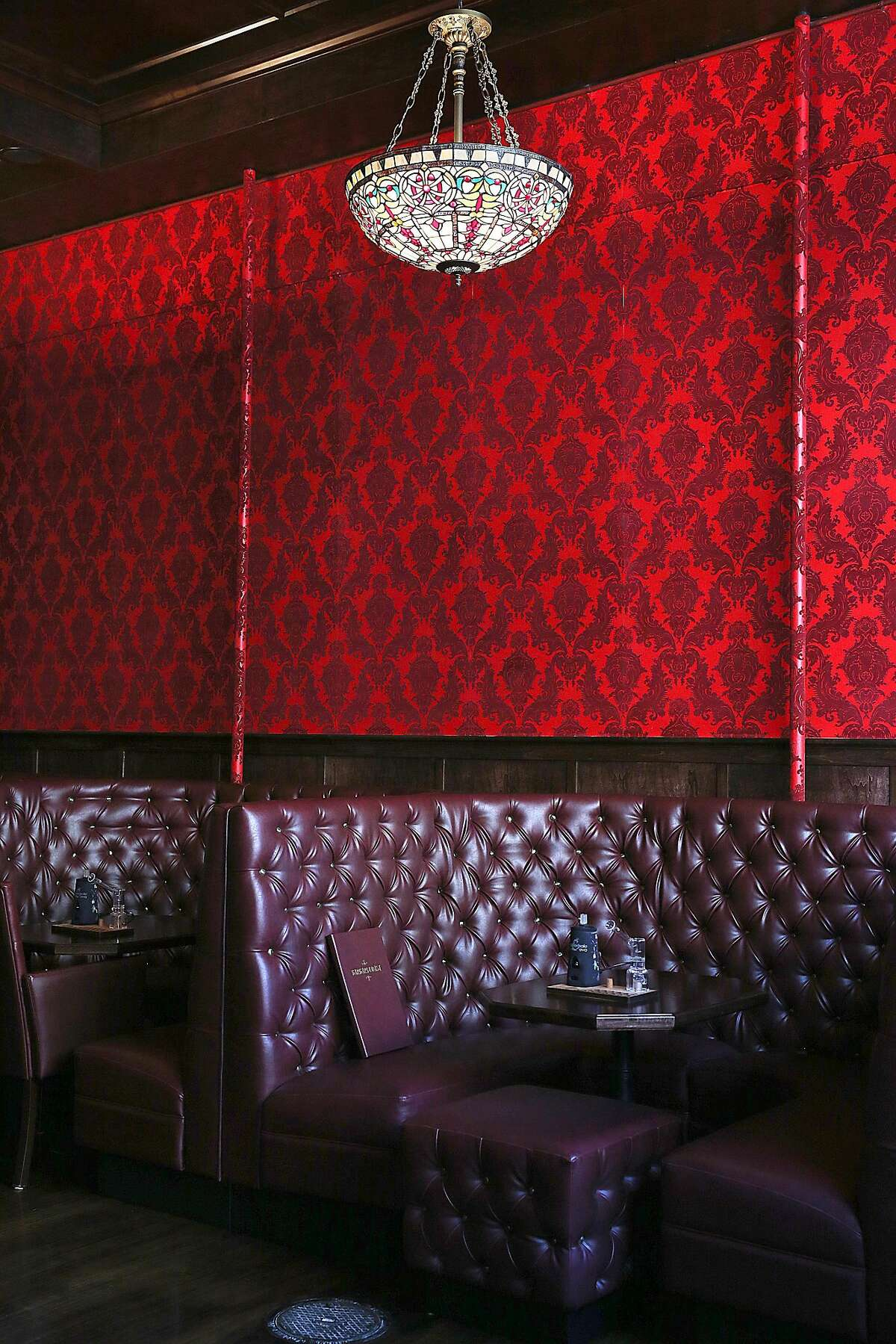 Detail of wallpaper and furniture at the new Barbary Coast SF cannabis lounge on Friday, March 10, 2017, in San Francisco, Calif.