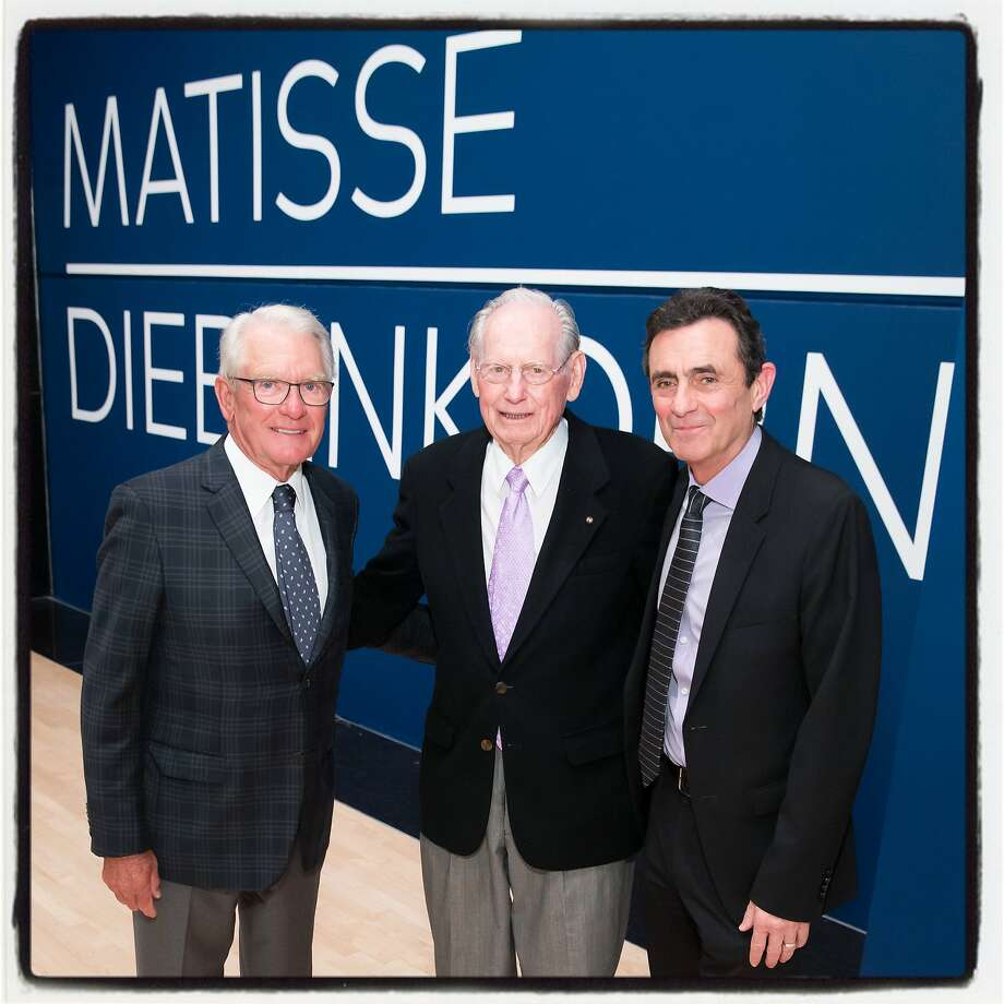 "SFMOMA board Chair Charles Schwab (left), artist Wayne Thiebaud and SFMOMA Director Neal Benezra at the ""Matisse/Diebenkorn"" exhibition opening. March 8, 2017. Photo: Drew Altizer Photography"