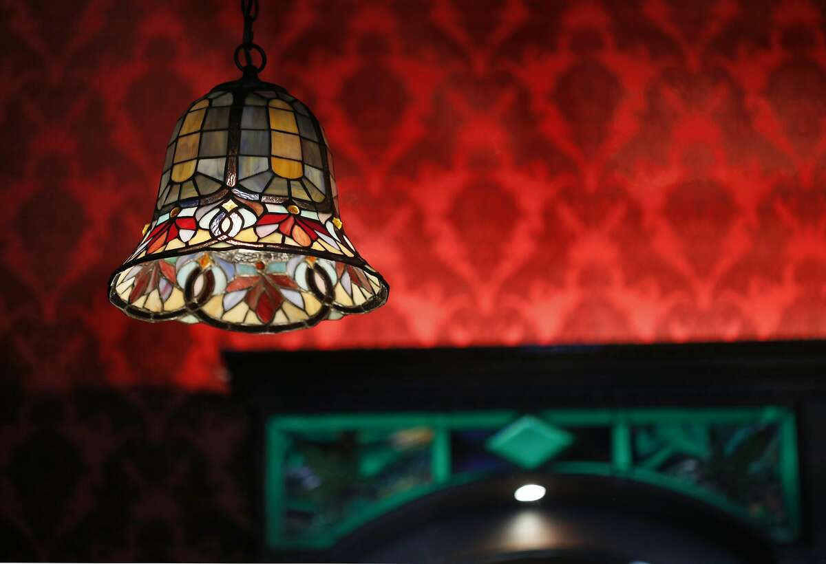 Detail of stained glass lamp at the bar of the new Barbary Coast SF cannabis lounge on Friday, March 10, 2017, in San Francisco, Calif.