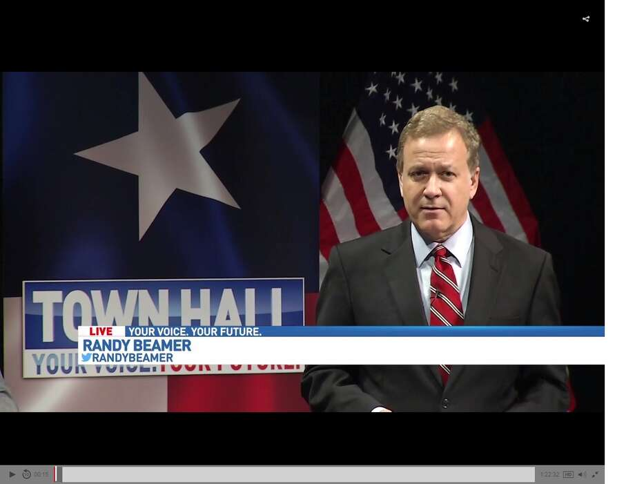 "WOAI anchorman Randy Beamer moderated the ""Your Voice,Your Future"" Town Hall on the ""bathroom bill"" Thursday at the Tobin Center for the Performing Arts. Photo: Screen Grab"