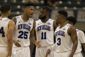 New Orleans forward Travin Thibodeaux (25) talks to his team during second-half action in The Southland Conference Basketball Tournament in the Leonard E. Merrell Center  Friday, March 10, 2017, in Katy. ( Steve Gonzales  / Houston Chronicle )