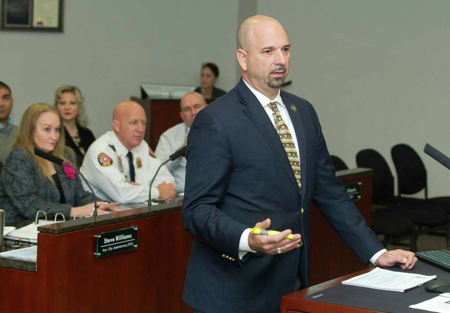 Steve Williams, Conroe assistant city administrator, presented an amendment to the city's Unavoidable Leak Ordinance that will allow the city to adjust the San Jacinto River Authority conversion fee as well as the city's fees. Photo: Jason Fochtman, Staff Photographer / Houston Chronicle