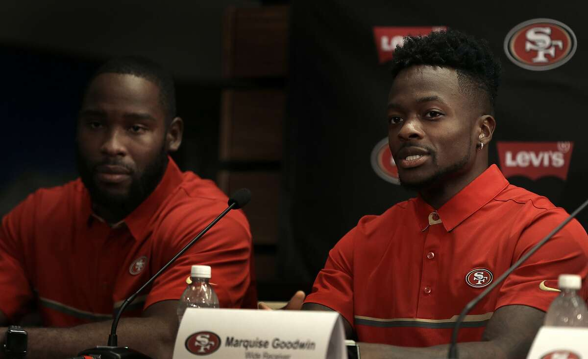 San Francisco 49ers wide receivers Pierre Garcon, left, and Marquise Goodwin answer questions from reporters during a media conference Friday, March 10, 2017, in Santa Clara, Calif. (AP Photo/Ben Margot)