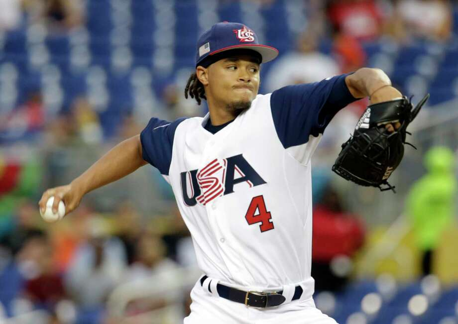 United States pitcher Chris Archer throws against Colombia during the first inning in a first-round game of the World Baseball Classic, Friday, March 10, 2017, in Miami. (AP Photo/Lynne Sladky) Photo: Lynne Sladky, STF / Copyright 2017 The Associated Press. All rights reserved.