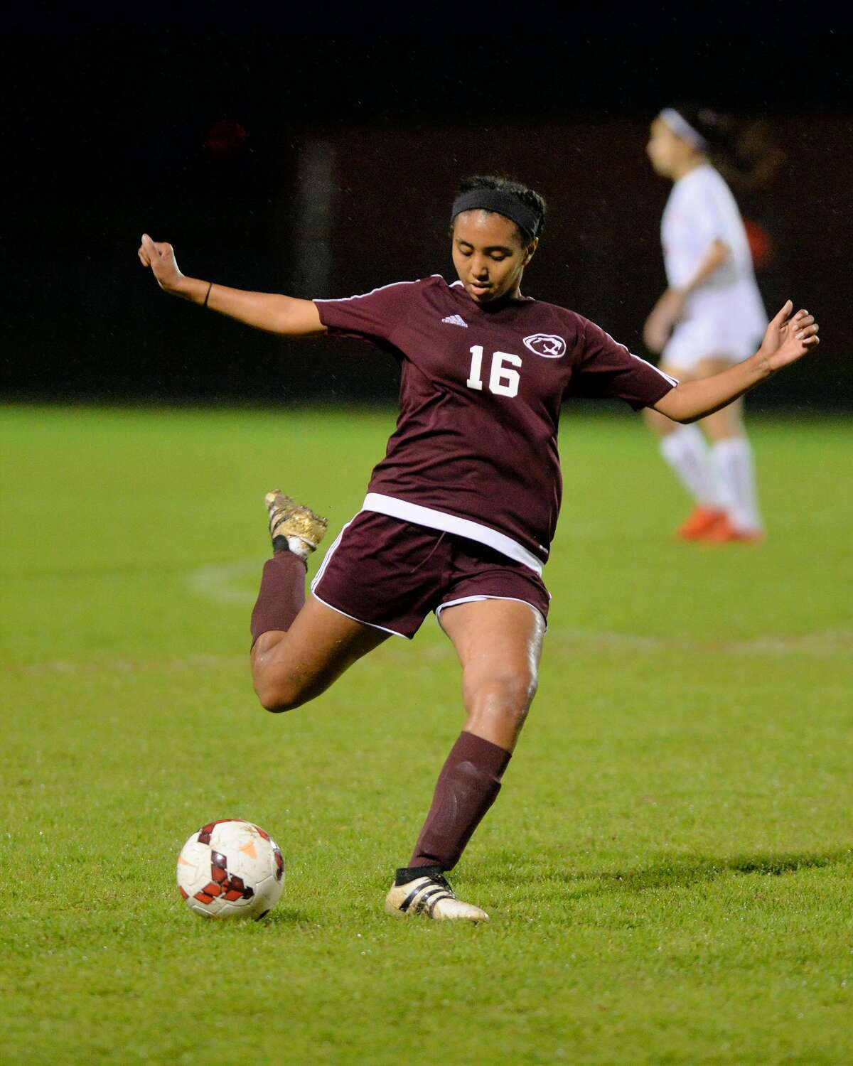 Sabrina Yohannes (16) of Kempner passes a ball during the first half of a girls high school soccer game between the Travis Tigers and the Kempner Cougars on Friday, March 10, 2017 at Travis High School, Richmond, TX.