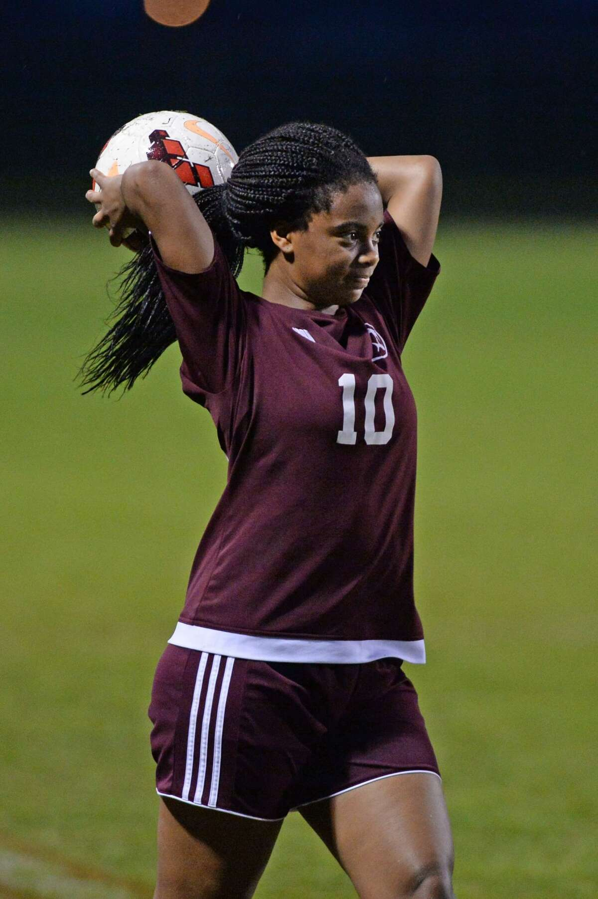 Kenedy Verge (10) of Kempner makes a throw-inj during the first half of a girls high school soccer game between the Travis Tigers and the Kempner Cougars on Friday, March 10, 2017 at Travis High School, Richmond, TX.