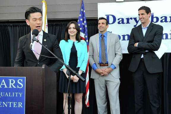 Assemblyman Evan Low (left) joins Pars Equality Center director Bita Daryabari, San Jose Mayor Sam Liccardo and Matt Mahood, president and CEO of the San Jose Silicon Valley Chamber of Commerce, at the center's 2015 opening .