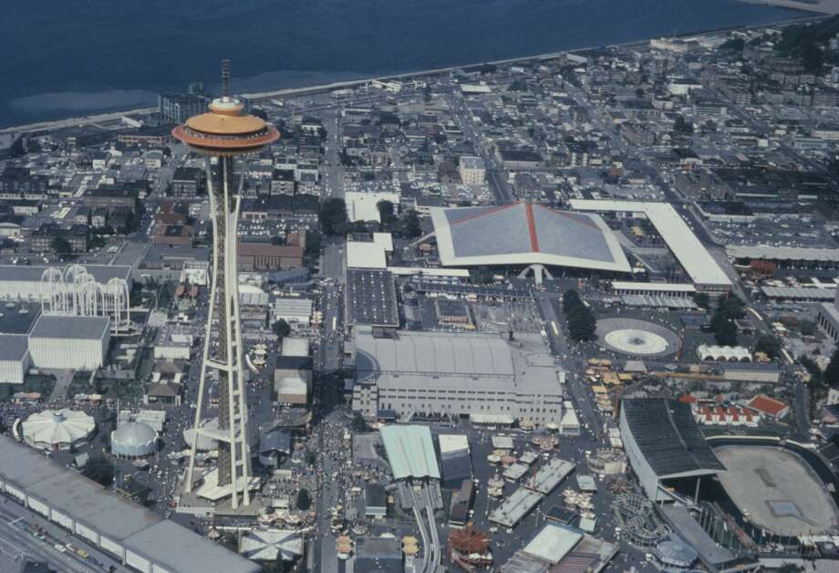 The Century 21 Exposition (Seattle World's Fair) in Seattle, Washington State, USA, with the Space Needle to the left, circa 1962. View from a helicopter. (Photo by Archive Photos/Getty Images) Photo: Archive Photos/Getty Images