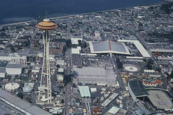 The Century 21 Exposition (Seattle World's Fair) in Seattle, Washington State, USA, with the Space Needle to the left, circa 1962. View from a helicopter. (Photo by Archive Photos/Getty Images)