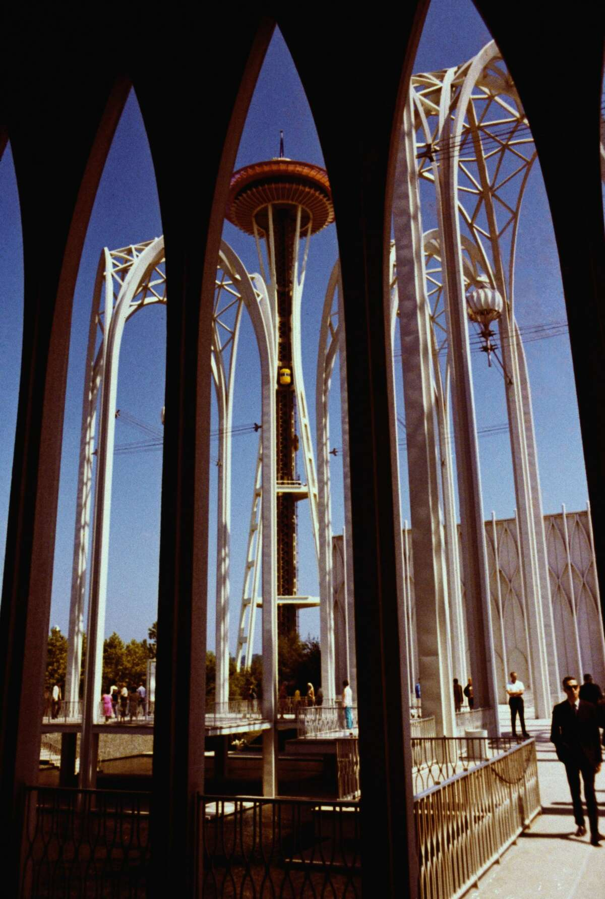The Pacific Science Center in Seattle, Washington, with the Space Needle in the background, circa 1968. The Pacific Science Center was designed by Minoru Yamasaki for the 1962 Seattle World's Fair. (Photo by Robert M. Keith/Archive Photos/Getty Images)