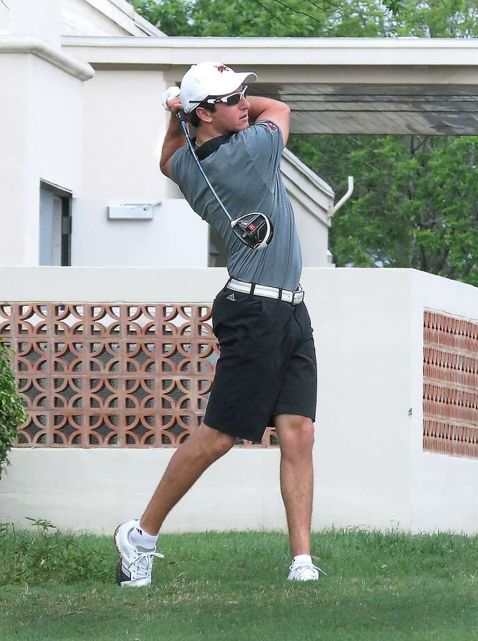 Texas State's Chase Ambrose tees off on hole No. 10 at Laredo Country Club during the 66th annual Border Olympics collegiate golf tournament on Friday. Photo: Cuate Santos /Laredo Morning Times / Laredo Morning Times